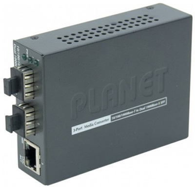 Convertisseur RJ45 Gigabit Ethernet / 2 x SFP (mini-GBIC), Multimode ou Monomode, GT-1205A, Planet