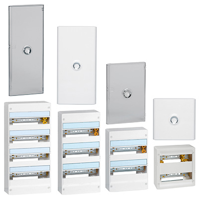Coffret nu avec rails DIN, largeur 13 ou 18 modules, porte en option, Drivia, Legrand