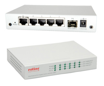 Switch Ethernet RJ45 Gigabit 10/100/1000 + 1 x SFP (mini-GBIC), administrable, Roline