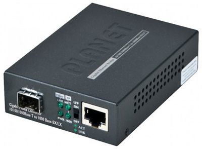 Convertisseur RJ45 Gigabit Ethernet / 1 x SFP (mini-GBIC), Multimode ou Monomode, GT-805A, Planet