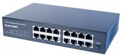 Switch Ethernet RJ45 Gigabit 10/100/1000, rackable, fanless, 10 ou 19 pouces, Dexlan