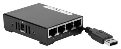 Switch Ethernet RJ45 Gigabit 10/100/1000, de poche, alimentation USB, Dexlan